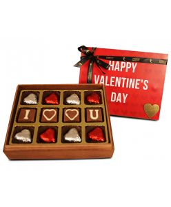ZOROY Luxury Chocolate Valentines Love Wooden box of 12