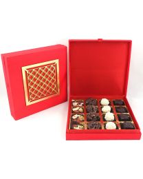 Signature Red Ethnic Box with Laser Cut Design and 16 assorted Chocolates