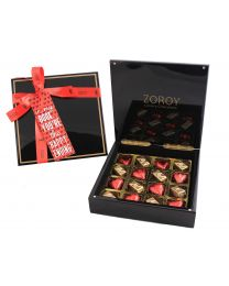 Valentines Glossy Box of Hearts and Pralines