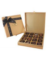 Gold Leather finish box with 16 assorted chocolates