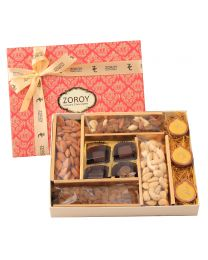 Large Combo Festive box of assorted dry fruits, chocolates and diyas