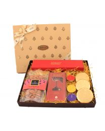 Small Boxed Festive Hamper of chocolate, cookies, dry fruit and candle