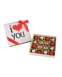 Valentines Gift Box of I love you Milk and white chocolates