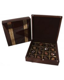 Pure wooden box with laser strips containing assorted chocolates