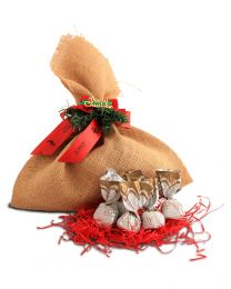 Christmas jute pouch of 12 assorted chocolates