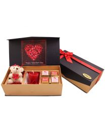 Valentines day Combo box of chocolates, candle and cuddly teddy