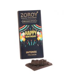 Pure Belgian  Couverture 73% Dark Chocolate Happy Birthday message bar - 100gms