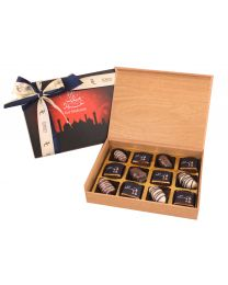 Eid Wooden Box of 12 EID MUBARAK dates chocolates
