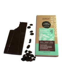 ZOROY Bean to Bar Purist Collection, Monsooned Malabar Coffee, 70% Organic Dark Chocolate bar, Pack of 2, 58gms Each - 116Gms