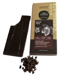 ZOROY Bean to Bar Purist Collection Noir 70% Dark Organic Bar with Cacao Nib Crunch bar, Pack of 2, 58gms Each - 116Gms
