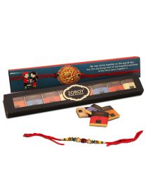 Rakhi Gift Thins Collection 8 Belgian chocolates with Rakhi