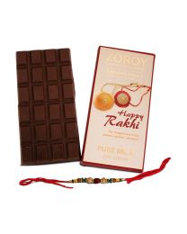 Rakhi Gift Pure Belgian Couverture Milk Chocolate bar with Rakhi - 100gms