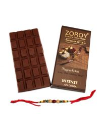 Rakhi gift Pure Belgian  Couverture Dark Chocolate bar with Rakhi - 100gms