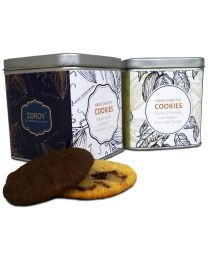 Hand Crafted Chocolate and vanilla Cookies in a reusable airtight tin 100gms each - 200gms