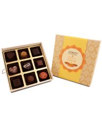 Diwali themed 9 assorted chocolates gift box