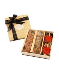 Diwali gift Box with 150 gms Dry Fruits and diyas