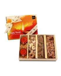 Diwali gift box with 225gms dry fruits and diyas