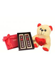 6 inch teddy bear with a big red box of 2 I love you bars