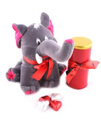 A cute Elephant with a Red Tin containg 12 milk chocolate Hearts