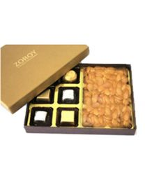 Luxury 12 cavity hard board combo box with 6 chocolates and 150gms dry fruits