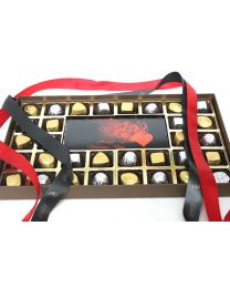 Love Extravaganza with 30 assorted chocolates and a Happy Valentine's Day Bar of 200gm milk choocolate